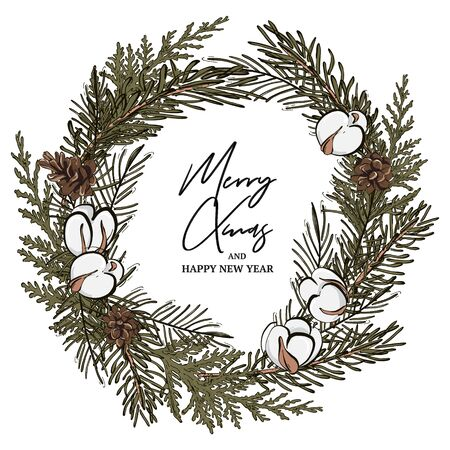 Modern hand-drawn fir wreath with  pine cones and cotton balls, Merry Christmas typography text. New Year decoration for advertising, poster, invitations, wallpaper, textile, typography  イラスト・ベクター素材