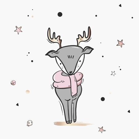 Childish deer cute cartoon  illustration sketch. Nursery print, Creative winter scandinavian style kids texture for fabric, wrapping, textile, wallpaper, apparel. Vector illustration.
