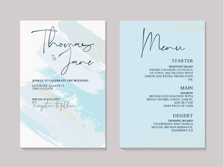 Wedding tender blue holographic gold brush stroke decoration. Soft tender ink splash, liquid flow. RSVP card, thank you decor.  イラスト・ベクター素材