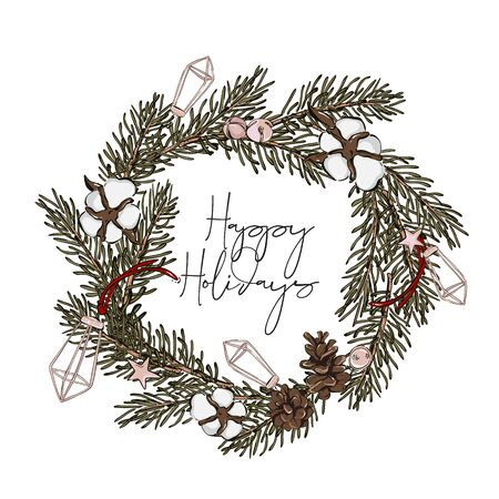 Modern hand-drawn fir wreath with  pine cones and cotton balls, geometric shapes decoration, Merry Christmas typography text. New Year art for advertising, poster, invitations, wallpaper.