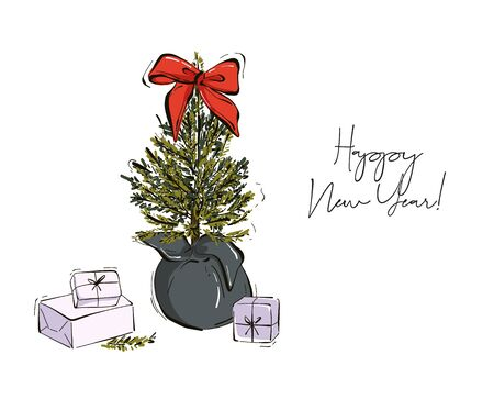 Christmas hand-drawn decoration tree branches with fir-cones, red bow, gifts isolated on white background. Modern winter holiday sketch in vector.