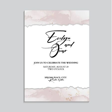 Tender soft rose gold design. Wedding invitation cards with Luxury gold and pink marble texture background and Abstract liquid style vector design template