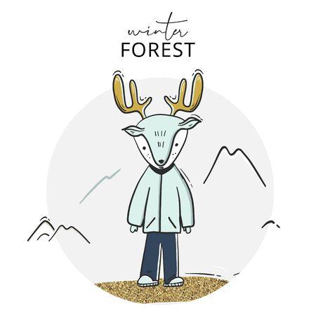 Childish deer cartoon  illustration sketch. Creative winter scandinavian style kids art for fabric, wrapping, textile, wallpaper, apparel. Vector illustration.