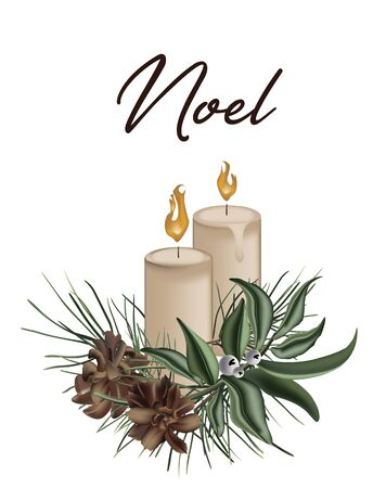 Merry Christmas 3d greeting card with candles, pine branch with cones and evergreen plants isolated on white background. art vintage winter holidays greeting card. Happy New Year invitation.