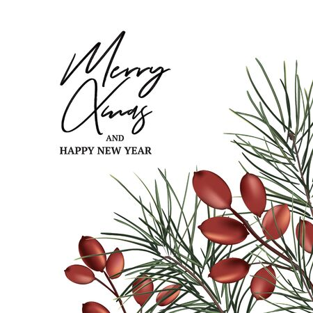 Xmas modern invitation with fir branch and red berries. Modern wnter holidays decor, New Year invitation, Christmas celebration card 2020. Vector. Иллюстрация