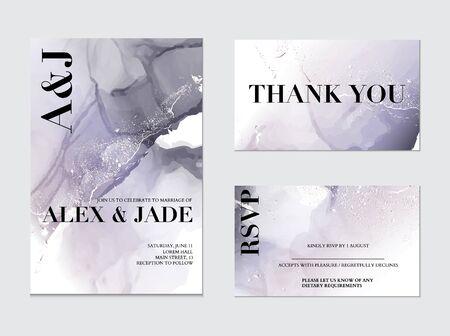 Wedding tender violet holographic silver decoration. Soft tender ink splash, liquid flow. RSVP card, thank you decor . Gradient colors art.