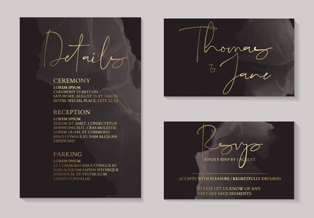 Luxury dark chocolate wedding invitation cards with gold marble texture and geometric pattern minimal style vector design template. Cute invitation, party collection