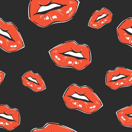Red lips on black background. Seamless pattern with contrast mouth. Beauty hand -drawn lips illustration design.