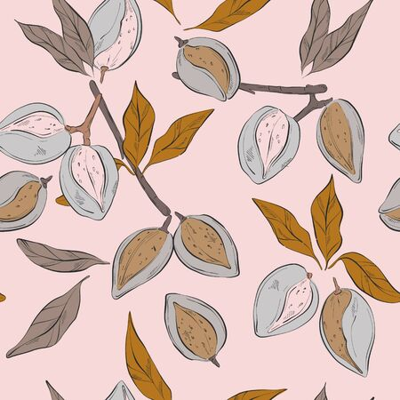 Almond pattern in vector. Pastel flowers and blooms, nuts floral seamless print. Vintage Kitchen decoration, wrapping paper, tabcle cloth fabrcis.  Hand0-drawn watercolor illustration Illusztráció