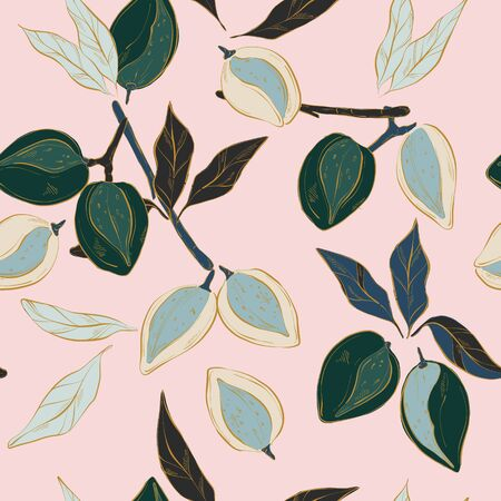Almond pattern in vector. Pastel pink green blue flowers and blooms, nuts floral seamless print. Vintage Kitchen decoration, wrapping paper, tabcle cloth fabrcis.  Handdrawn watercolor illustration