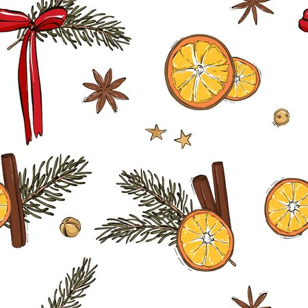 Christmas pattern decoration - evergreen fir tree branch, orange slices, red bow, cinnamon, anise star, glitter sparkle stars and jingle bells calligraphic quote, Happy New Year design.