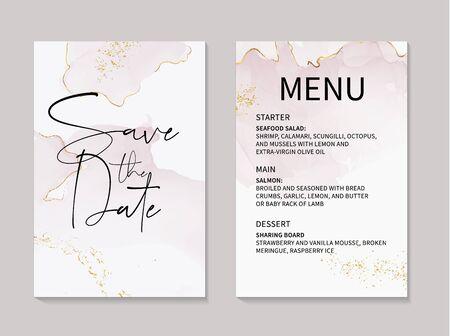 Vector marble tender rose acohol ink elements with golden copper foil and text. Wedding invitation template, menu design. Rose gold pastel soft design. Reklamní fotografie