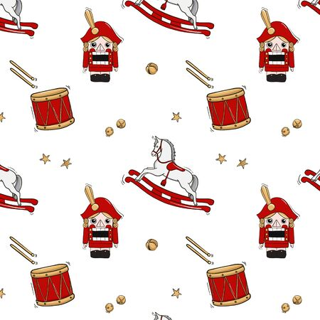 Nutcracker tale illustration with rocking horse, soldier, dum with sticks and star and jingle bells decoration. Hand-drawn fairy tale pattern, nursery print, Christmas kids decoration 写真素材