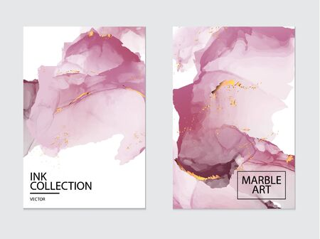 Vip luxury design. Marble watercolor splash, pink tender flow design. Gold glitter foil. Business template, greeting or invitation card. Modern art.