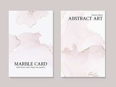 Tender rose ink gold foil wedding cards with marble texture. Vector design for cover, banner, invitation, card Branding and identity. Abstraact boho  illustration 版權商用圖片