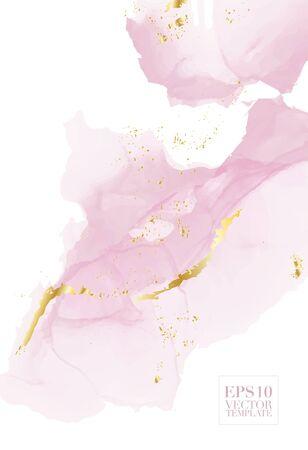 Flujo de líquido de repetición de acuarela de vector en tiernos colores beige, rosa con brillos de oro rosa. Fondo abstracto del grunge de la tinta del alcohol del vector. Diseño de decoración de bodas