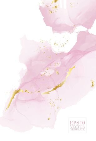 Vektoraquarell-Wiederholungsflüssigkeitsfluss in zarten beige, rosa Farben mit roségoldenen Glitzern. Vektor-Alkohol-Tinte-Grunge-Zusammenfassungshintergrund. Design der Hochzeitsdekoration