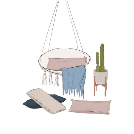 Hand drawn interior advertising sketch. Cozy appartment design with armchair, pillows, cover, plant. Home relax art contemporary illustration. Decor sketch Banque d'images - 131818892
