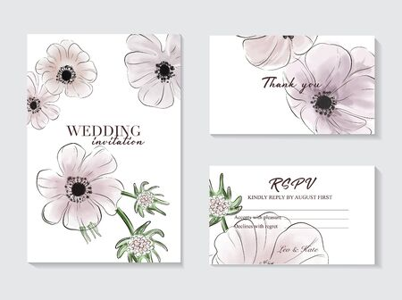 Botanical anemones wedding invitation card template design, pink tender flowers and leaves isolated on white  background, vintage style flowery wedding template