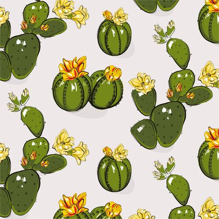 Cactus greenery bloom yellow grey  summer pattern. Contrast Hand-drawn succulent cactus with flowers. Bright floral Sketch texture. Funny cacti mexican nature decoration. Иллюстрация