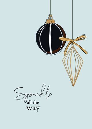 Christmas and Happy New Year template, bauble hanging in black gold colors winter greeting card. Trendy retro style. Vector design element
