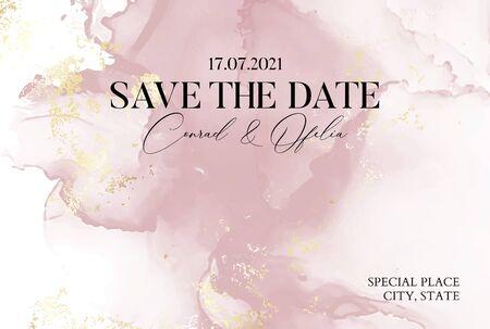 Ręcznie rysowana marmurowa tekstura w delikatnych różowych kolorach z płynnym tuszem akwarelowym i złotą folią brokatową. Elegancka okładka biznesowa, karta Save the Date Ilustracje wektorowe