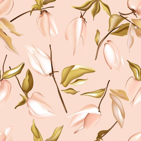 Seamless pastel peach vector Floral Pattern with foliage jungle elements. Tender pink soft simple colors flowers background. Floral summer botany  nature art. Illustration