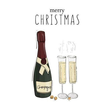 Merry Christmas decoration, champagne bottle and glasses full of drink with  bubbles, luxury dcoration, New Year Eve  party design.