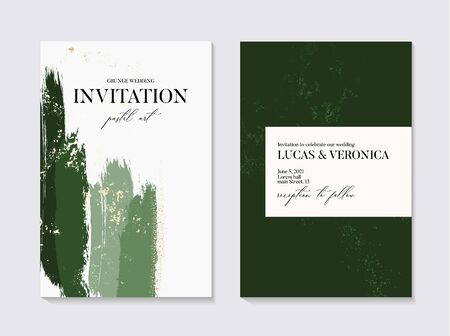 Wedding green grunge splash invitation cards with Luxury gold and emerald  marble texture background. Abstract deep green style vector design template