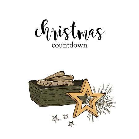 Christmas party preparation, winter holidays countdown: fireplace with wood log, gold star, pine fir and jingle bells, cozy interior home illustration in vector