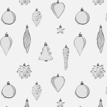 Modern vector baubles Christmas decoration pattern in grey black monochrome. Winter holidays festive repetition design stars, pine cones, garland elements Ilustração