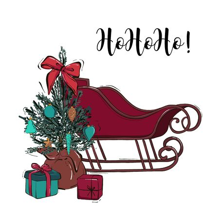 Winter Christmas sleigh with decorated tree, gifts, presents hand-drawn sketch illustration. Xmas Greeting lettering card.  New Year invitation .