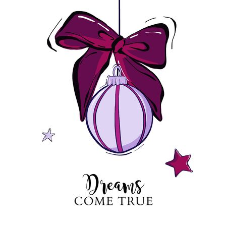 Merry Christmas hand drawn card with New Year bauble balls and stars in violet color. Vector sketch illustration, greeting card design Ilustração