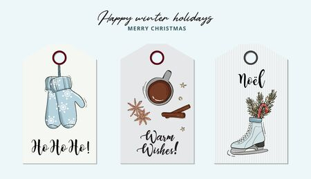 Christmas hand-drawn greeting card with gloves, hot chocolate, anise star, cynnamon, skates and fir branches winter holidays xmas illustration, typography quotes. Happy New Year graphics. Ilustração