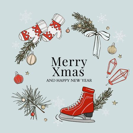 Merry Christmas party preparation, winter holidays mittens, gloves, skate, fir branch, pine tree, bow, baubles illustration in vector. Xmas leisure activity  hand-drawn greeting card