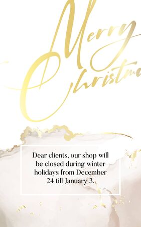 Merry Christmas luxury design in gold glitter beige colors with marble texture template. Winter holidays festive sparkle banner, poster, flyer, website, advertising with hand-drawn text typography. Ilustração