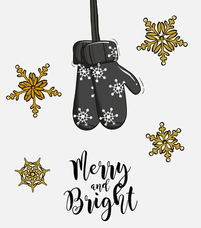 Christmas gift gloves hanging advertising. Merry Christmas and Happy New Year holiday design with hand-drawn mittens and text, Xmas cute decor in vector.