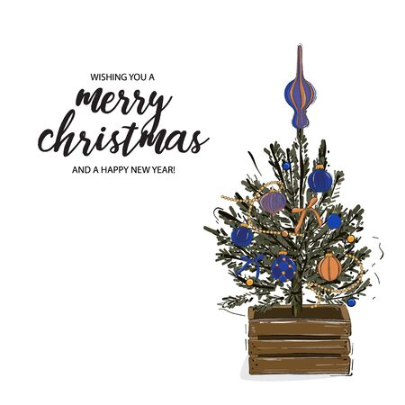 Merry Christmas tree in wood crate, decorated with baubles, stars,  garland and typography greeting quote. Happy New Year vector hand-drawn winter holidays illustration. Ilustração