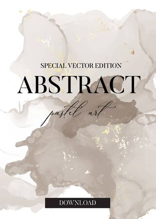 Pastel grey and gold foil abstract  brush strokes  marble watercolor ink splash in vector. Tender pastel painting for banner, flyer, brochure, website graphics.