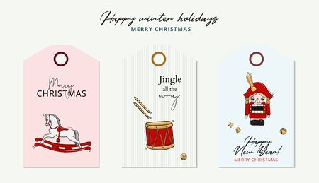 Merry Christmas card tale nutcracker, rocking horse, drum illustration winter greeting tag with calligraphy text, play wooden toy character banner xmas vector, holiday eve drawing .