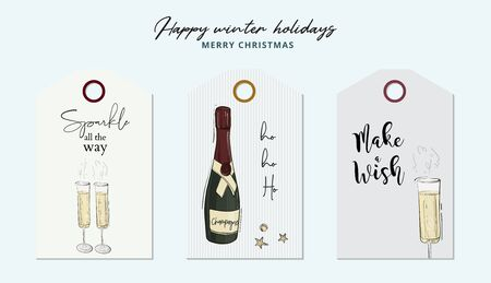 Merry Christmas and Happy New Year greeting card, Champagne sparkles, glasses, festive design for holiday season with ornament decoration, gifts. Ilustração