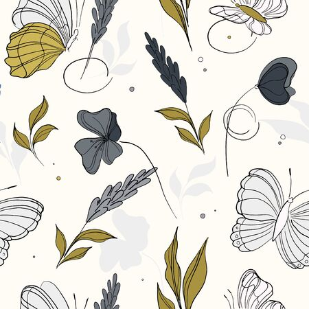 Geometric repetition butterfly pattern. Spring green blue machaon and plants background. Seamless surface insect nature art.