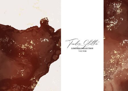 Wedding pastel red rust and gold foil invitation cards with Luxury mabrle effect and repetiotion splashes. Ilustração