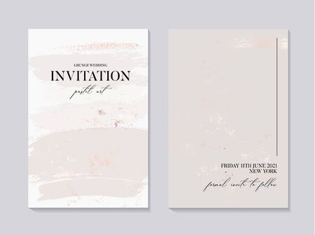 wedding collection in grey colors, marble invitation card with gold foil texture. Minimal bohemian design in vector, creative fluid art, liquid flow concept.