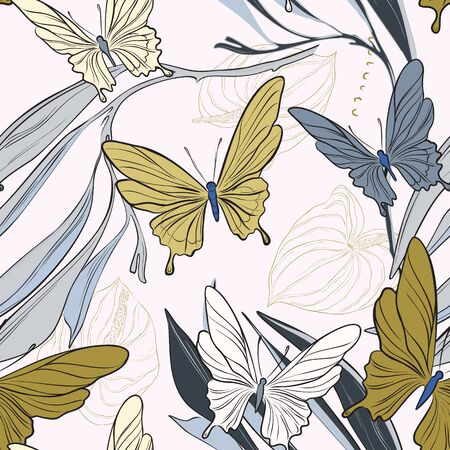 Geometric repetiotion butterfly pattern. Spring machaon and plants background. Seamless surface insect nature art.
