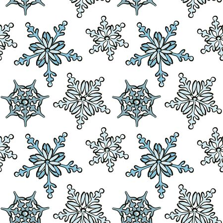 Snowflake hand-drawn pattern, repetition design, modern Christmas  decoration cover background. Ilustração