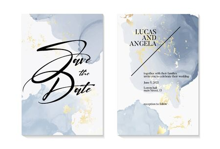 Wedding Save the Date invitations and Card Template Design with gold foil grunge texture and blue liquid watercolor blobs Painted canvas pastel luxurious Gold style Vector Illustration. Ilustração