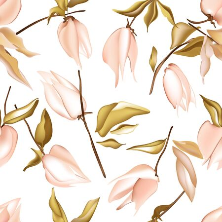 Tender jungle  peach flowers and leaves, physalis background pattern, realistic illustration. Summer texture, abstract vector. Botanical hawaiian watercolor nature art.