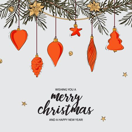 Set of hand drawn christmas balls, star, baubles. Happy New Year decoration isolated elements. with quotes. Xmas Doodles and sketches vector hand-drawn  illustration.