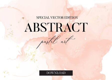 Pastel soft rose and pink brush strokes  marble watercolor ink splash in vector. Tender pastel painting for banner, flyer, brochure, website graphics. Ilustração